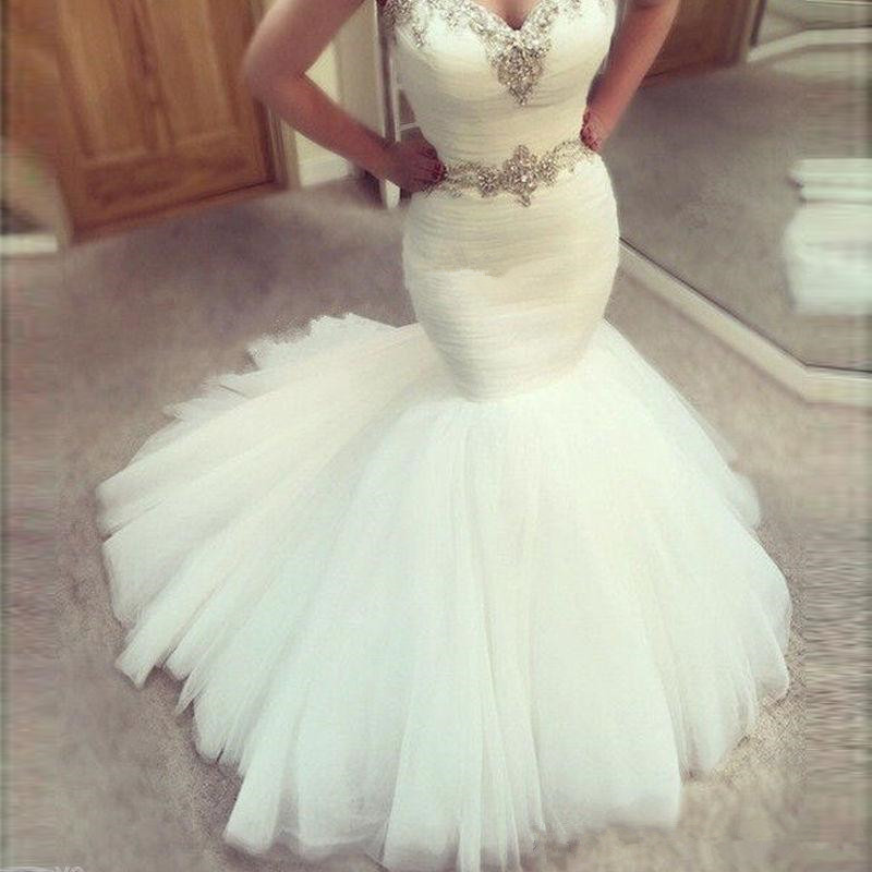 Sexy Long Mermaid Wedding Dresses 2018 Sweetheart Sleeveless Country Tulle Beads Crystal Waist Modest Sheath Satin Plus Size Bride Dress