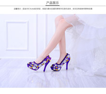 Hot style waterproof Taiwan flower sweet fish mouth diamond crystal breathable wear antiskid female wedding banquet high heels