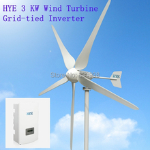HYE 3kw wind grid tie home system with 3000W wind turbine generator and wind solar hybrid grie tie inverter