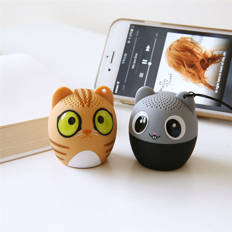 TTLIFE Portable Cute Cat Bluetooth Speaker for Iphone Xiaomi Mini Cartoon Animals Wireless Music Bass Handsfree Pretty Key Chain(China)