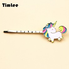 Timlee H100 Free Shipping  Cartoon Lovely Rainbow Horse Unicorn Metal  Hair Clip hair accessory wholesale