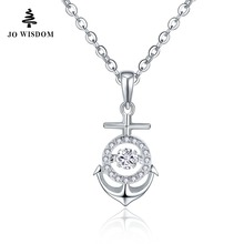 JO WISDOM Birthstone Diamond Trendy Solid 925 Silver Women Necklaces Infinity Pedants with Dancing Natural Topaz(China)