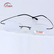 = SCOBER = New B Titanium ONLY 2G Ultra-light Bomb Rimless READING GLASSES BLACK AND SILVER FRAME +1 +1.5 +2 +2.5 +3 +3.5 +4(China)