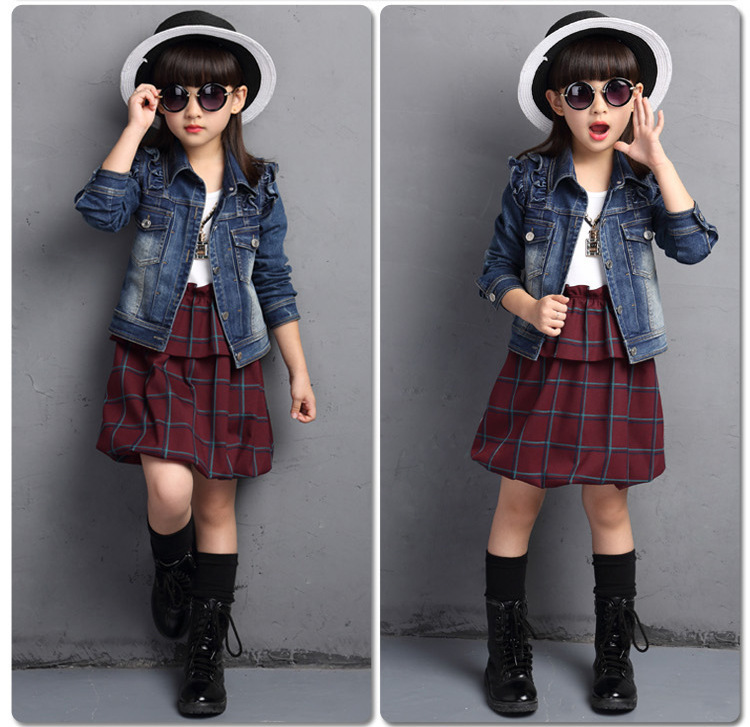 Spring New Pattern Childrens Garment Girl Child Two Pieces Cowboy Suit Pure Cotton Kids Clothing Sets<br>