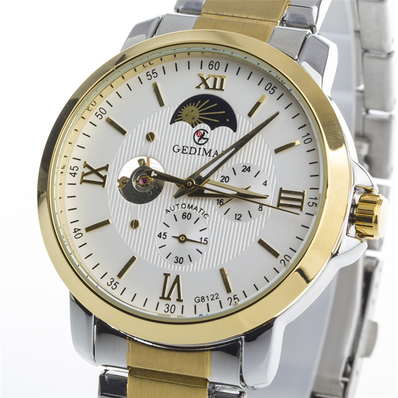 luxury brand GEDIMAI leather strap self wind automatic Mechanical waterproof Watches mens relogio masculino WristWatch<br>
