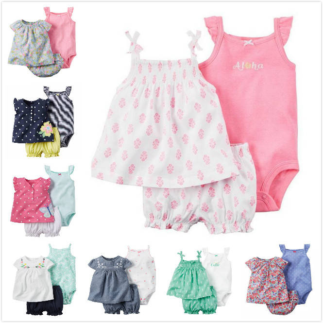 Baby-Girl-New-Born-Clothing-Sets-of-Short-Sleeve-Shirt-Outwear-Cotton-Sleeveless-Jumpsuits-Short-Pants