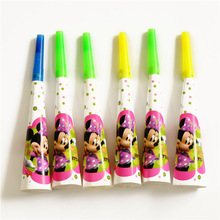 6pcs Birthday Party Decor Noise Horn Cartoon Minnie Mouse Theme Party Trumpets Supplies For Girls