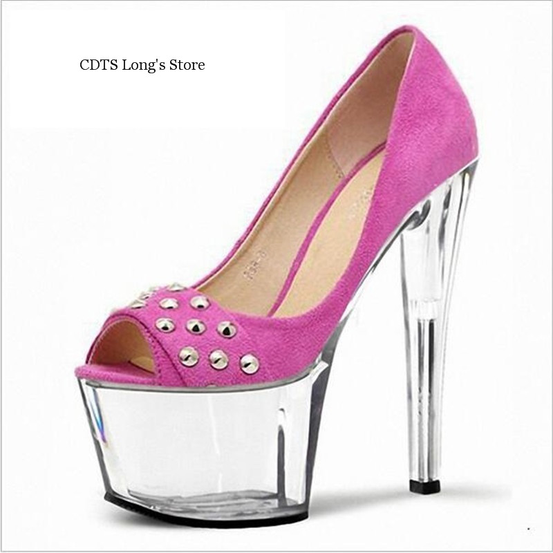 CDTS Plus:35-45 46 2016 ladies spring/autumn crystal platforms wedding Peep Toe 15cm thin high heels Rivet shoes women pumps<br><br>Aliexpress