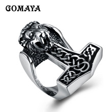 GOMAYA Male Power Lion Head Rings Steel Stainless Steel Ring Trendy Titanium Steel Jewelry Anillos(China)
