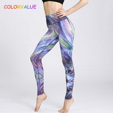 Buy Colorvalue 3D Gradient Series Yoga Leggings Women Beautiful Printed Fitness Sport Leggings High Waist Dance Running Tights for $14.52 in AliExpress store