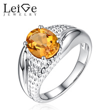 Leige Jewelry Natural Citrine Ring for Women Yellow Gemstone 925 Sterling Silver Engagement Rings Oval Cut November Birthstone