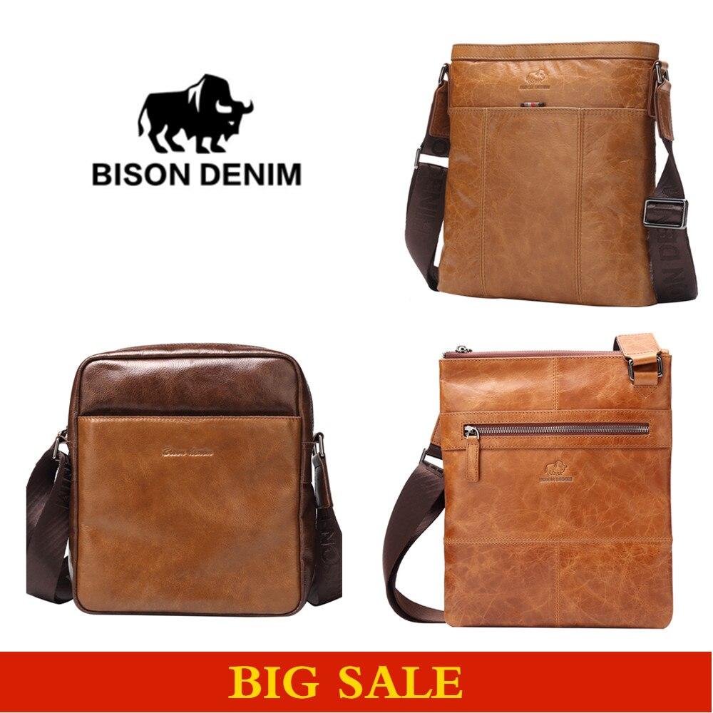 BISON DENIM Designer high quality Genuine Leather Guarantee Shoulder Messenger bag men brown luxury brand vintage bag W2440-1V<br>