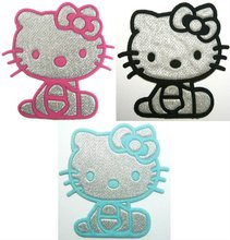 Free Shipping - Pink & Black & Blue Hello Kitty Iron On Patches Clothes Shirt Hat Jean shoe Pet Clothing Silvery Gift
