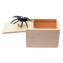 Novelty Hilarious Spider Scary Box Prank Wooden Box Joke Gag Toy For April Fool's Day Supplies(China)