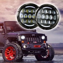 Pair 105W Motorcycle Headlight H4 H13 DRL with turn signal lights  for Jeeps Wrangler JK Hummer 7 INCH LED Headlamp