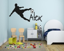 Cool Football Soccer Ball Personalized Name Vinyl Wall Decal Art Children Wall Sticker Kids Nursery Room Decor Home Decoration