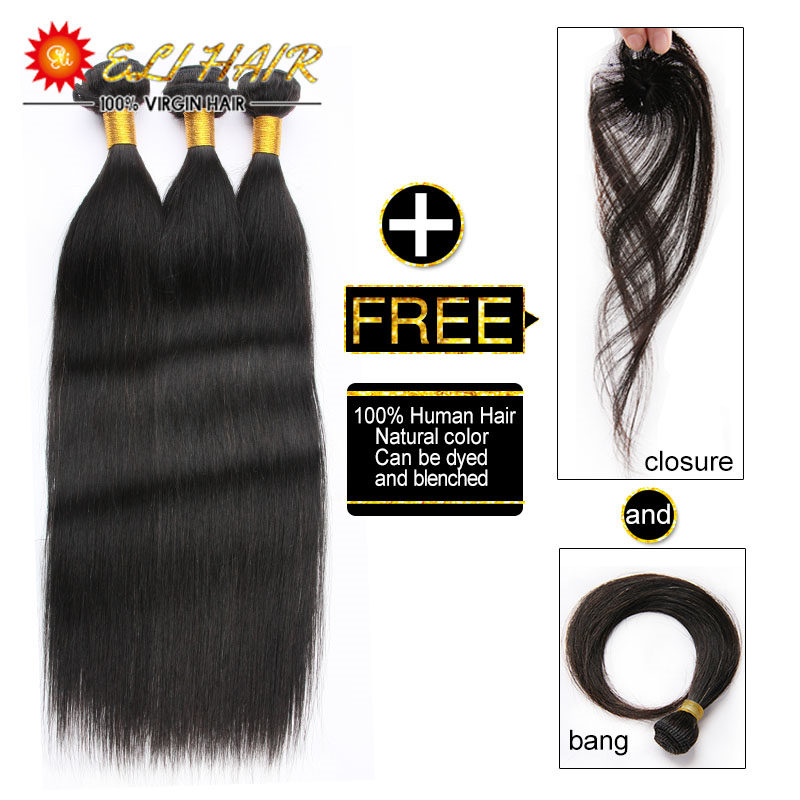 Natural Unprocessed 8A Top Grade Brazilian Human Hair Straight Weave With Closure And Bang 310g Virgin Human Hair 3 Bundles Lot<br><br>Aliexpress