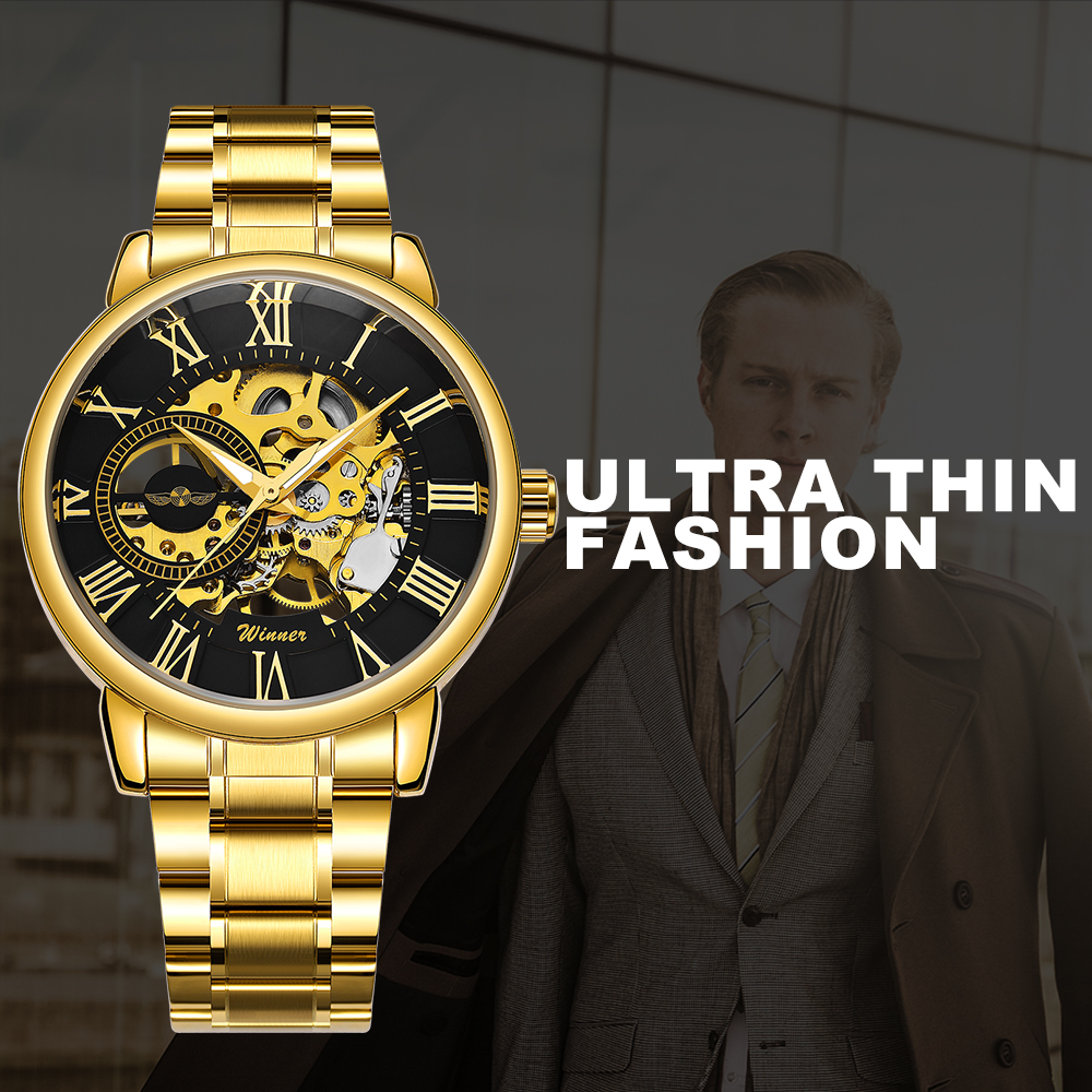 Mechanical Watches Watches Classic Golden Skeleton Mechanical Watch Men Stainless Steel Strap Top Brand Luxury Man Watch Vip Drop Shipping Wholesale