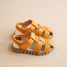 New Spring Summer Shoes Boys Soft Leather Sandals Baby Boys Summer Prewalker Soft Sole Genuine Leather Beach Sandals CSH130(China)