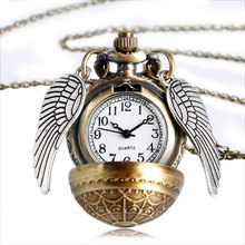 Harry Potter Elegant Golden Snitch Quartz Fob Pocket Watch With Sweater Necklace Chain Drop Shipping Kid's Gifts