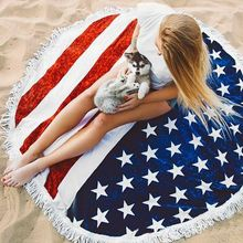 UFRIDAY New Flag Beach Towel USA National Flag Star Round Beach Towels With Tassel Sports Towel Large Print Serviette De Plage