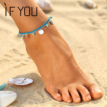 IF YOU Women Anklets for Women Chaine Beach Bohemian Barefoot Sandals Enkelbandje Cyan Natural Stone Beads Boho Foot Jewelry