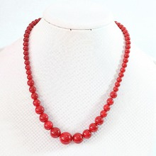 Fashion artificial red coral 6-14mm round beads necklace charms women elegant gifts chains rope jewelry diy 18inch B666