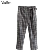 Vadim women vintage plaid bow tie wrap pants elastic waist Ankle length chic pants ladies autumn casual trousers KZ1082(China)