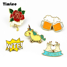 Timlee X223 New Cartoon  Cute Animals  Unicorn Hand Beer WTF Rose Metal Brooch Pins Button Pins Fashion Jewelry Wholesale