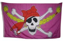 Jolly Roger Pirate Princess Girl Pink Pigtales Rough Tex Knitted Indoor Outdoor High Quality Football Flag 3X5 Custom flag(China)