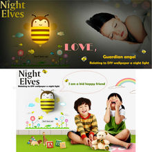 New arrival Creative cute 3D wall stickers DIY with plug led night lights smart sensor night light Children room lights LED Lamp