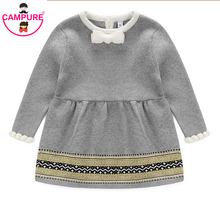 Campure Fashion Autumn Winter Newborn Baby Girls Sweater Princess Dress Infant Knit Gress Kids Little Girl Jersey Dress Apron(China)