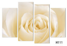 4 Pcs/Set Fashion Brand Hot Sale Canvas Picture flower Painting light yellow Roses canvas print wall pictures  living room H/027