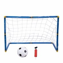 Portable Folding Football Door Gate Mini Kids Outdoor/Indoor Game Football Soccer Gate Toy with Ball Inflatable Hand Pump(China)