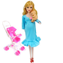MOM+Baby+Stroller Toy Pregnant Doll Mini Baby In Belly Baby Alive Reborn Winx Doll In Her Tummy Real Happy Family Barbies C0A706