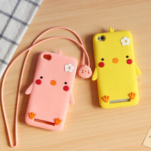 Cartoon 3D Chick soft silicone Cases For xiaomi redmi 3 Standard Edition case with cute lanyard without fingerprints holes cover