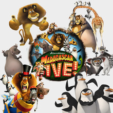 Cute cartoon madagascar wall stickers for kids rooms easy peel off baby bedroom DIY animals wall decals