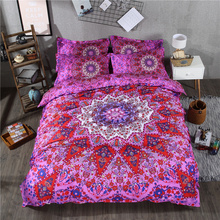 Boho Red Violet Color Bedding Set Mandala Duvet Cover Set Bed Sheet with Pillowcase Twin Queen King Size 2/3/4 Pieces