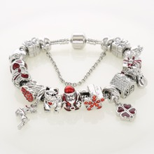 Christmas Gifts Silver Charm Bracelets Red Crystal Pave Flower Beads Santa Claus Men Women Holiday Jewelry