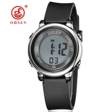 New OHSEN Brand Women Lady Sport digital LCD Watch 50M Diving Black dial silicone strap waterproof wristwatch relogio feminino(China)