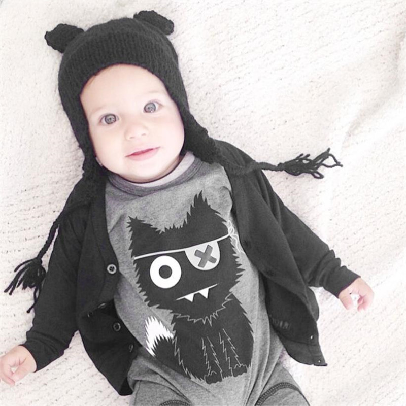 Baby-Boy Clothing Jumpsuit Long-Sleeve Cotton Cartoon Warm Cat Circle title=