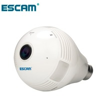NEW ESCAM Watt QP135 Bulb Type Panoramic WIFI IP Camera H.264 1.3MP Two Way Audio Motion Detection Support 128G TF Card