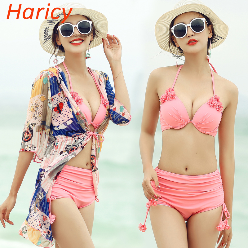 Sexy Handmade Flower Bikini 2018 Plus Size Swimwear Women Dress Halter Swimsuit Bathing Suit Biquini Bikini Set Swim Suit<br>