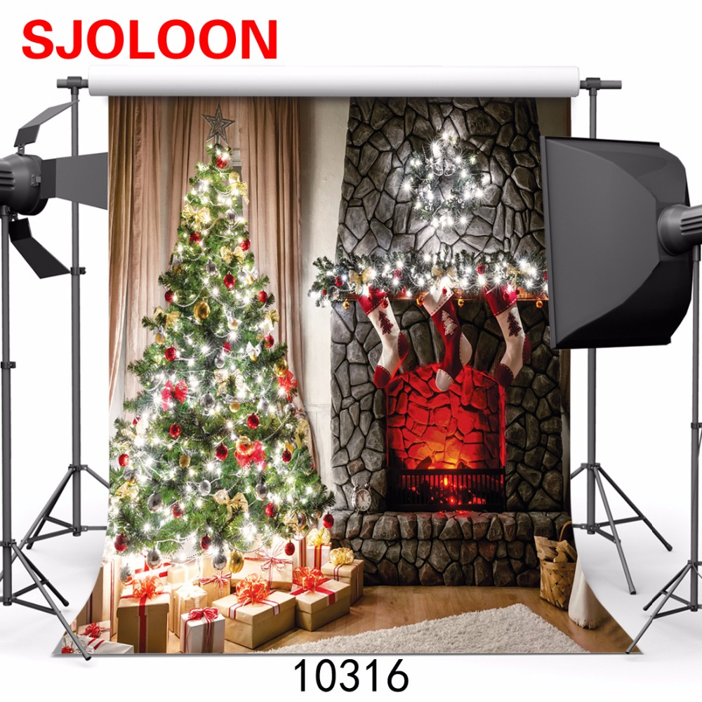 SJOLOON New Christmas tree photography background christmas fireplace  christmas photo studio background vinyl 300x300cm  10316 <br><br>Aliexpress