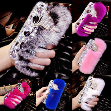 Bling Diamond Rhinestone Fluffy Fur Plush With Fox Head Phone Case Cover For iPhone 6 6plus 7 Plus 8 Samsung S6 S7 S8(China)
