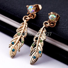 promotion price diamante feather shape gold wedding earrings  brand cc allied express jewelry