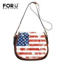 FORUDESIGNS Vintage Ladies Cross Body Girl Single Shoulder Bags US UK Flag Printing Women Handbags Casual Small Bolsas Femininas