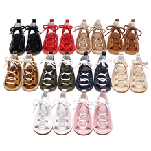 Summer Baby Girls Flat Heels Lace-up Sandals Girls Toddler Rome Sandals Baby Boy Gladiator Sandals Kids Leather Sandals 10 Color(China)