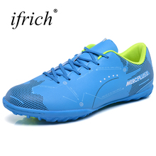 Sport Shoes Men Football Original Comfortable Man Sport Gym Footwear Leather Green Yellow Male Soccer Training Shoes Cheap
