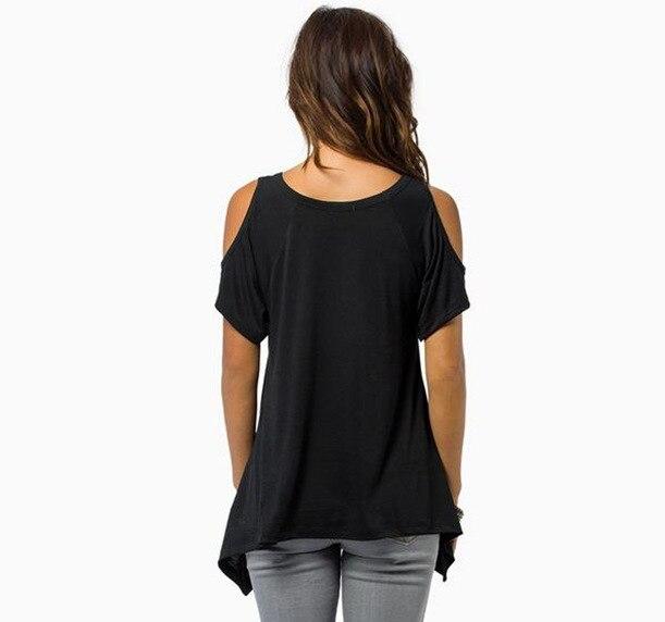 2018-New-Short-Sleeve-T-Shirt-Womenswear-Sexy-V-Neck-Splicing-Off-Shoulder-Fishtail-Short-Sleeve